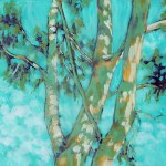 A more advanced limited color study with focus on the pattern of the tree bark as well as light and shadow.  Malachite Green, Titanium White, Egyptian Violet, Mars Yellow Light, Alizarin Orange