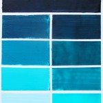 A pull-down sample board using Pthalo Turquoise.  The right side is the color extended with increasing amounts of wax medium.  The left side is the color tinted with white.    Pthalo Turquoise, Titanium White
